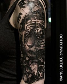 Tiger tattoo done by Angelique Grimm – Tattoos Ideas And More Tiger tattoo done by Angelique Grimm Tiger … Leopard Tattoos, Black Ink Tattoos, Animal Tattoos, Black And Grey Tattoos, Body Art Tattoos, Maori Tattoos, Tiger Tattoo Sleeve, Cat Tattoo, Tattoo Arm