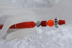 Kugelschreiber - Kugelschreiber rot silber schreiben Raute - ein Designerstück…