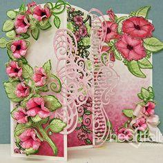 Heartfelt Creations Petunia Border Multifold card