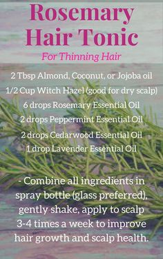 Essential Oil Thinning hair is no fun. Try this easy DIY tonic to promote hair growth and give your scalp some refreshing nourishment. Thinning hair is no fun. Try this easy DIY tonic to promote hair growth and give your scalp some refreshing nourishment. Cedarwood Essential Oil, Essential Oils For Hair, Essential Oil Diffuser Benefits, Pure Essential, Oil For Hair Loss, Hair Tonic, Hair Loss Shampoo, Hair Loss Remedies, Thinning Hair Remedies