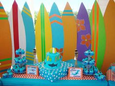 Sharks and surfing birthday party backdrop! See more party planning ideas at CatchMyParty.com!