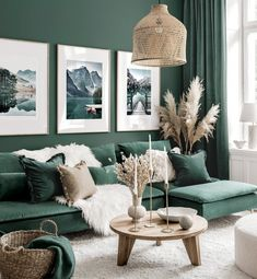 Living Room Green, Green Rooms, New Living Room, Home And Living, Living Room Decor, Bedroom Decor, Living Room Colors, Wall Decor, Interior Design Living Room