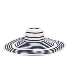 This White & Navy striped Floppy Sun Hat is perfect for the beach!