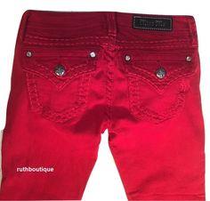 Miss Me Denim Jeans Girls / Kids Size 14 Stretchy Skinny Ruby Red JK5014S164 #MissMe #SlimSkinny #Everyday