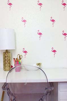 Flamingo Bird Wall Decals Wall Stickers Wall Design - These are so cute for a girls room, bathroom, furniture, powder room, nursery, etc. Over 20 different colors to choose from. Even 3 different *pinks* which are obviously perfect for Flamingos! Love these!!!