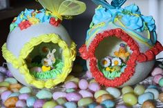 This is the best description I've seen of how to make these.  For the mold she used a big plastic Easter egg that was filled with candy! I really want to do this for next year.