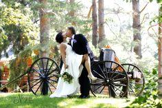 A fantastic dip kiss at The Little Log Wedding Chapel in Niagara. A fun elopement wedding for 2