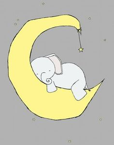 Elephant Nursery Art -- Baby Elephant Moon and Stars Dream -- Grey and Yellow Nursery Decor -- Children Art Print