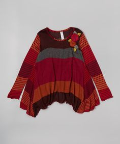 Look what I found on #zulily! Cranberry Stripe Sidetail Wool-Blend Tunic - Toddler & Girls #zulilyfinds