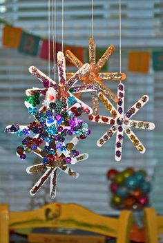 Popsicle Snowflake Christmas Ornaments for kids