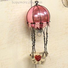 Hot Air Balloon Assemblage from a Vintage Pink Ornament with hearts