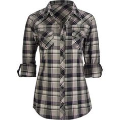 FULL TILT Roll Cuff Womens Flannel Shirt