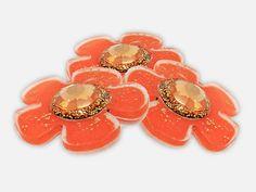 Refrigerator Magnets  3 Orange Flower Fridge Magnet Set by WooHue