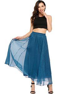 2ef83198d9 Womens High Elastic Waist Ankle/Full Length Pleated Vintage Retro Chiffon  Maxi Skirt