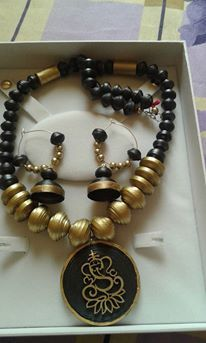 Gold and Black paper bead necklace set with Bali Earrings