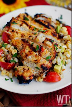 grilled marinated chicken and corn. A healthy #superbowl snack