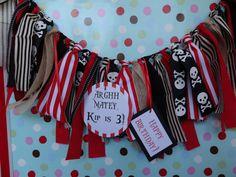 Pirate Theme Birthday/ highchair banner/ photo by apetitesoiree, $21.00