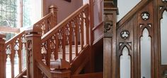 Arts & crafts era Stair Panels, Stair Railing, Stairs, Bannister, Staircases, Arts And Crafts, Carving, Google Search, Architecture