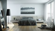 Great bedroom design with gray color... | Visit : roohome.com    #bed #bedroom #decoration #amazing #awesome #gorgeous #Great #fabulous #interior #creative