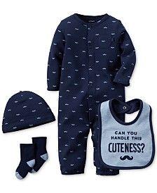 Carter's Baby Boys' 4-Pc. Moustache Converter Gown, Cap, Bib & Socks Set