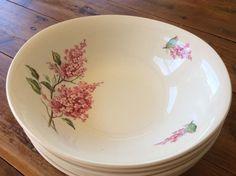 1 X Cereal Sweet Soup Bowl DishVINTAGE WOOD & SONS ENGLAND PINK BLOSSOM…