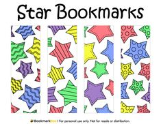 Free printable star bookmarks. Download the PDF template at http://bookmarkbee.com/bookmark/star/
