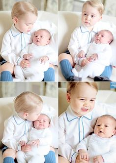 katemiddletons:  Prince George with his little sister Princess Charlotte; photos take at Anmer Hall, mid-May 2015, by the Duchess of Cambridge.
