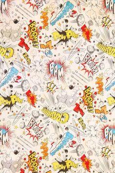 Boom, crash, bam, zap, zoom, wow, pow comic pattern