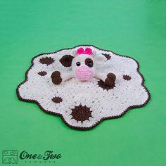 Doris the Cow Lovey / Security Blanket  PDF Crochet Pattern