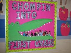 "This crocodile bulletin board display reminds me of ""The Enormous Crocodile"" by Roald Dahl.  Children would get a kick out of you taking photographs of them, cutting them out, and placing them inside the crocodile's mouth like in this bulletin board display example."