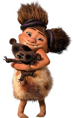 The Croods - Sandy Crood (Randy Thom) is Grug and Ugga's ferocious baby daughter who still bites and growls instead of speaking.