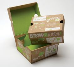 Reusable box: bright green and white design with a variety of handwritten typography makes it fun and eye catching. puzzles and illustrations encourage reuse of the box to cut down on waste, recyclable.