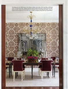 Lorenzo - Brown on Oyster | Bennison Fabrics wallpaper brown damask dining room