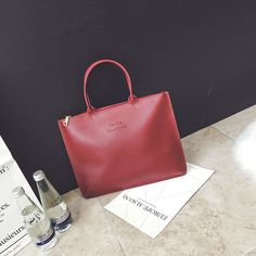 Popular US&EU style female solid color burgundy top-handle tote bag lucky godness Simple Briefcase letter women handbags bag