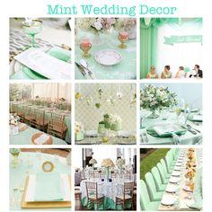 Mint Green Wedding Decor. (mint, wedding, decor, decorations, design, chair, linens, table, centrepieces, flowers, plates, cups, napkins, vases, ideas) More mintspirations on my blog!