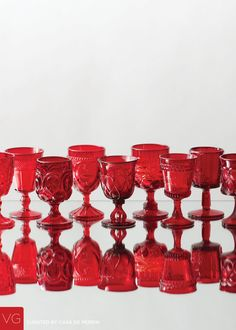 An assortment of red goblets dating back to the turn of the . Vintage Dishware, Vintage Bar, Vintage Wine Glasses, Painting The Roses Red, Crystal Glassware, Mason Jar Wine Glass, Glass Dishes, Carnival Glass, Vases
