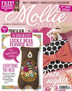 Mollie Makes issue 50 with free lucky bear embroidery craft kit. Also inside this issue: • Bow clutch bag sewing pattern • Crochet planters •  Watercolour and marbling DIYs  • Knitted moccasins •  Valentine's ideas • Cross stitched chair • Clay antler headband •