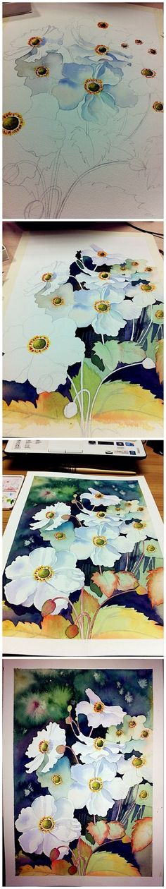 [Tutorial] Qing flower painting watercolor illustrations steps