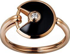 Amulette de Cartier ring, XS Pink gold, onyx, diamond