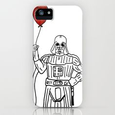 Light Side of the Dark Side iPhone & iPod Case by Mike Brennan - $35.00 #starwars #Vader #Darth #Phone #case #iphone #ipod #Balloon #Force #Space #Scifi #Fantasy #Red #White #Black #drawing #art