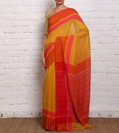 Yellow & Red Jamdani Khadi Cotton Saree