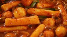 """Korean snack - Hot and spicy rice cake, called """"Ddeokbokki"""". It's hard to stop eating these once you start!"""