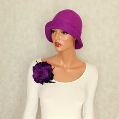 Purple hat felt cloche Felted hat Felted cloche by ZiemskaArt