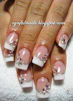 This would be cute for a pink-n-white set with the rhinestones on 1-2 nails. Perfect wedding nails!