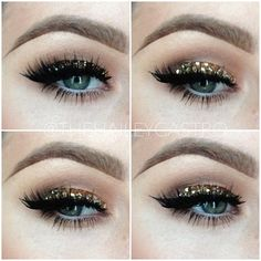 Ultra glam, gold sparkle eyeshadow, makeup , eyes