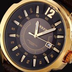 Štýlové ručičkové pánske hodinky s koženým remienkom - zlato-čierne 8bf3cca34ed