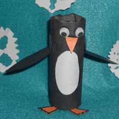 Art: Toilet Paper Roll Penguin Craft Project. Have a styrofoam ball head and paint it black for more of a head and maybe felt for feet and wings to give texture to the penguin.