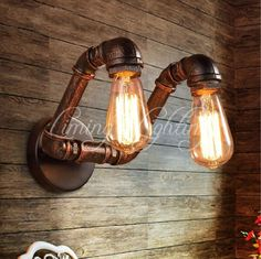 98.80$  Watch now - http://ali6i1.worldwells.pw/go.php?t=32614127828 - Double 2 Heads Water Pipe Louis Poulsen Scone E27 Plated Loft American Retro Vintage Iron Wall lamp Lights Antique Industrial