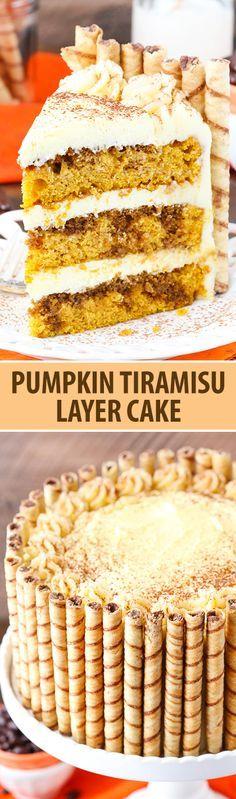 Pumpkin Tiramisu Layer Cake - pumpkin cake, kahlua and espresso, tiramisu filling and mascarpone frosting