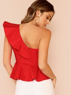 Glamorous Red Ruffle Trim One Shoulder Peplum Slim Fit Peplum Plain Top Cap Sleeve Blouse Women Spring Elegant Blouses Peplum Tops, Estilo Fashion, Ideias Fashion, Plain Tops, Crop Top Outfits, Summer Blouses, Women Sleeve, Fashion Sewing, Simple Dresses